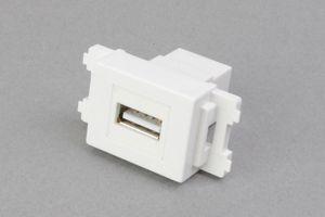 コンセントチップ(スナップインセット品) コンセント側:USB(Aコネクタ メス)/壁内側:USB(Aコネクタ メス) 横型 白