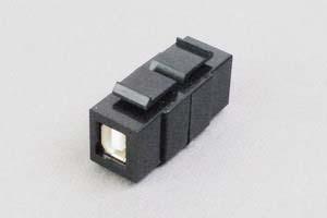スナップイン中継コネクタ USBコネクタ(片側Bコネクタ メス/片側Aコネクタ メス 黒)