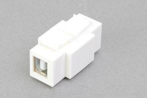 スナップイン中継コネクタ USBコネクタ(片側Bコネクタ メス/片側Aコネクタ メス 白)