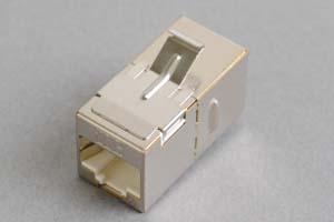スナップイン中継コネクタ、10Gbps通信対応、両側RJ-45メス筒型(LAN配線用、CAT6A対応、金属シールドタイプ)