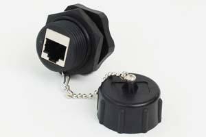 LAN(CAT6)中継アダプタ 【防塵・防水パネルマウント、IP67対応】 シールド(STP)タイプ 筒型 先端キャップ付き