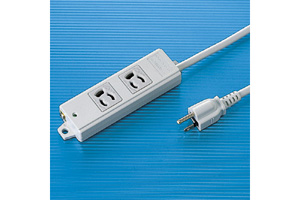 【サンワサプライ】 電源タップ(工事物件タップ、3P・2個口の抜け止めタイプ、15A・125V(合計1500Wまで)、3Pプラグ長さ5mコード付き)