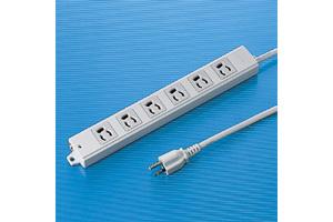 【サンワサプライ】 電源タップ(工事物件タップ、3P・6個口の抜け止めタイプ、15A・125V(合計1500Wまで)、3Pプラグ長さ3mコード付き)