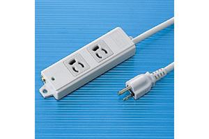 【サンワサプライ】 電源タップ(工事物件タップ、エコ電線タイプ、3P・2個口の抜け止めタイプ、15A・125V(合計1500Wまで)、3Pプラグ長さ3mエコ電線コード付き)