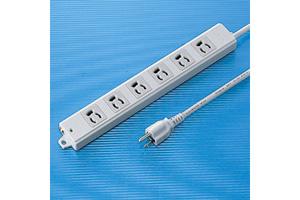 【サンワサプライ】 電源タップ(工事物件タップ、エコ電線タイプ、3P・6個口の抜け止めタイプ、15A・125V(合計1500Wまで)、3Pプラグ長さ5mエコ電線コード付き)
