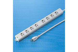 【サンワサプライ】 電源タップ(工事物件タップ、エコ電線タイプ、3P・8個口の抜け止めタイプ、15A・125V(合計1500Wまで)、3Pプラグ長さ5mエコ電線コード付き)