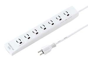 【サンワサプライ】 電源タップ(簡易パッケージタイプ、手元スイッチとサージガード付き、3P・7個口の抜け止めタイプ、15A・125V(合計1500Wまで)、マグネットと3Pプラグ長さ5mコード付き)