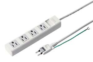 【サンワサプライ】 電源タップ(熱に強い構造、簡易パッケージタイプ、3P・4個口、15A・125V(合計1500Wまで)、2Pスイングプラグコード2.5m付き)