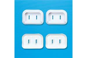 【サンワサプライ】 電源コンセント用トラッキング予防キャップ、Lアングル型2Pプラグ用、4個入り