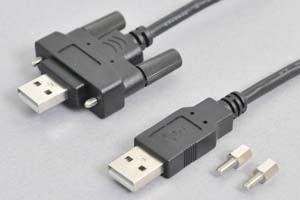 勘合ネジ付き USB2.0ケーブル(パネルマウントUSB2.0ケーブル用)  Aオス-勘合ネジ付きAメス