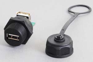 USB2.0中継アダプタ 【防塵・防水パネルマウント、IP66対応】 両側Aメスコネクタ Lアングル型 先端キャップ付き