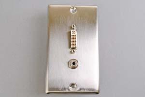 中継AVコンセント(無塗装銀色ステンレスプレート型、DVI映像+音声用、壁面埋込タイプ)【在庫限り販売中止】