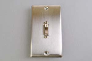 中継AVコンセント(無塗装銀色ステンレスプレート型、DVI映像用、壁面埋込タイプ)【在庫限り販売中止】