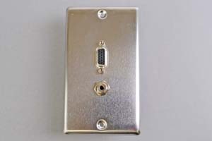 中継AVコンセント(無塗装銀色ステンレスプレート型、VGA映像+音声用、壁面埋込タイプ)