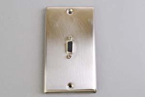 中継AVコンセント(無塗装銀色ステンレスプレート型、VGA映像用、壁面埋込タイプ)