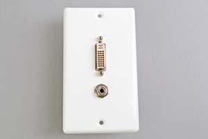 中継AVコンセント(白色塗装ステンレスプレート型、DVI映像+音声用、壁面埋込タイプ)【在庫限り販売中止】